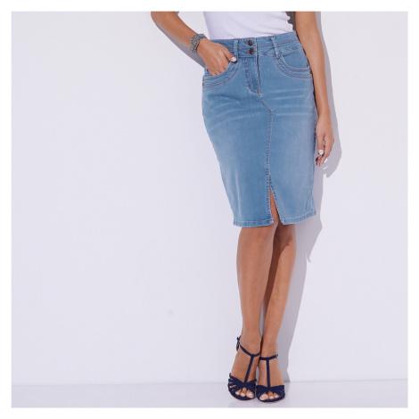 Blancheporte Džínová sukně s rozparkem sepraná modrá