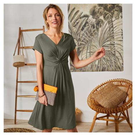 Blancheporte Krátké jednobarevné šaty khaki