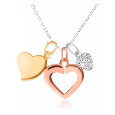 Stříbrný 925 náhrdelník - řetízek, tři srdíčka, zlatá, stříbrná a měděná barva Šperky eshop