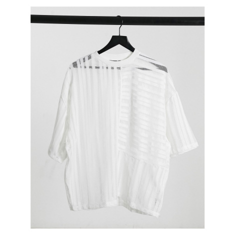 ASOS DESIGN oversized t-shirt with half sleeve in white mesh