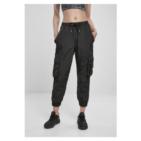 Ladies High Waist Crinkle Nylon Cargo Pants - black Urban Classics