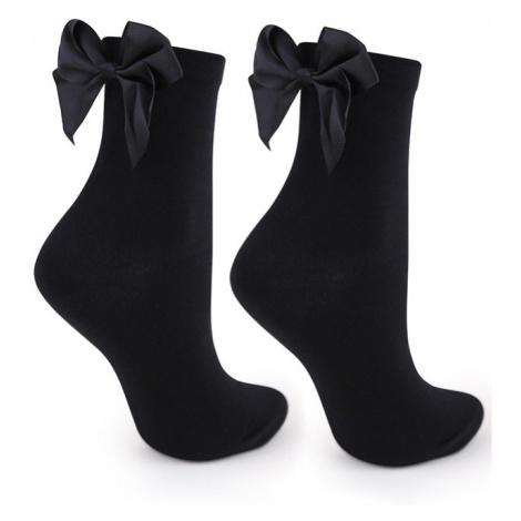 Dámské černé ponožky s mašlí M27 Marilyn