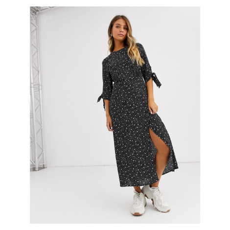 New Look tie sleeve side split midi dress in mixed spot print-Multi