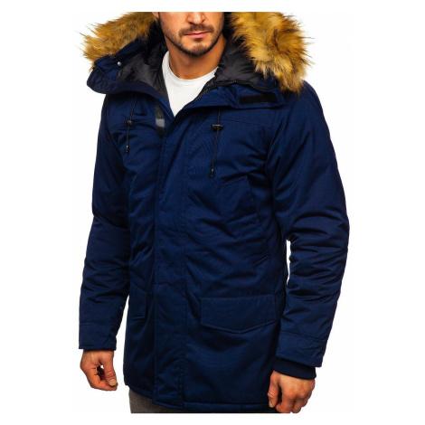 Tmavě modrá pánská zimní bunda parka alaska Bolf HZ8109 RED FIREBALL