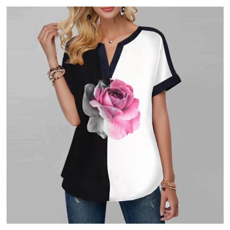Dámské černobílé tričko s květinou FashionEU