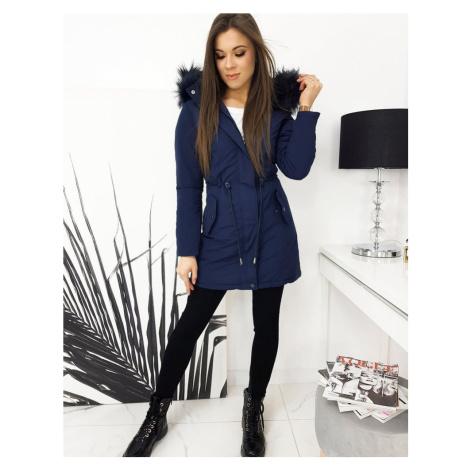 Tmavě modrá dámská oboustranná bunda s kožešinovou kapucí TY1625 BASIC