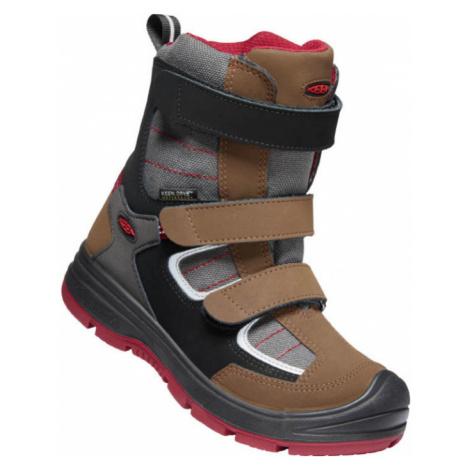 KEEN REDWOOD WINTER WP C Dětská zimní obuv 10007884KEN01 bison/red dahlia