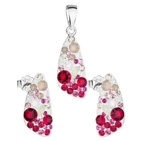 Evolution Group Sada šperků s krystaly Swarovski náušnice a přívěsek mix barev 39167.3 sweet lov