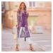 Blancheporte Dlouhá voálová košile s potiskem purpurová