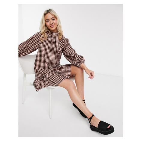 ASOS DESIGN gingham mini smock dress-Multi