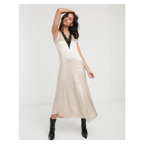 Levete Room satin slip midi dress with lace trim-Gold