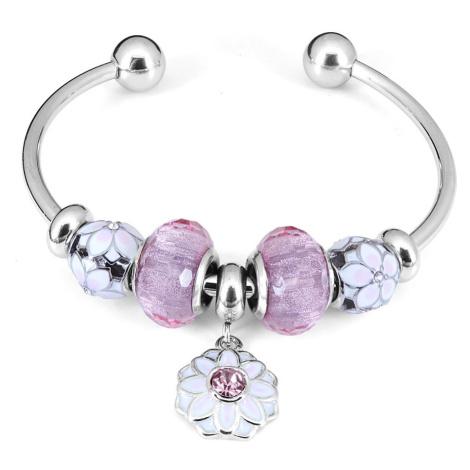 Linda's Jewelry Náramek s přívěsky Kytičky s glazurou chirurgická ocel IRN094