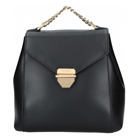Elegantní dámský kožený batoh Hexagona Reina - černá