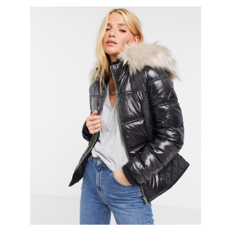 River Island shiny padded belted jacket with faux fur hood in black
