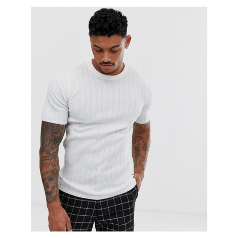 ASOS DESIGN knitted muscle fit ribbed t-shirt in white