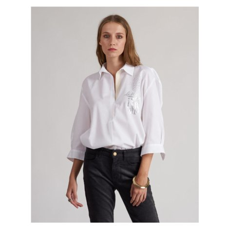 Košile La Martina Woman Shirt Long Sleeves Silky - Bílá