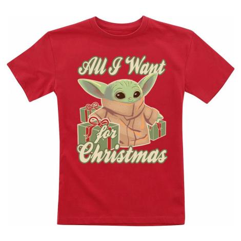 Star Wars Kids - The Mandalorian - All I Want For Christmas - Grogu detské tricko červená