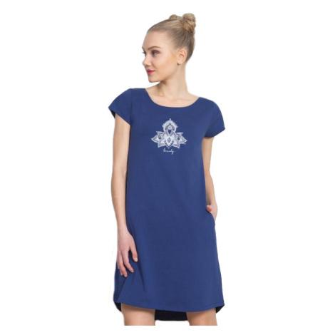Dámské domácí šaty s krátkým rukávem Vienetta Secret Lovely | tmavě modrá