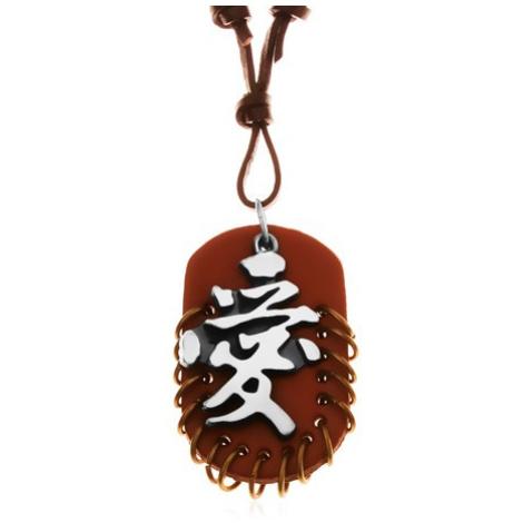 Kožený náhrdelník, přívěsky - hnědý ovál s kroužky a šedo-černý čínský znak Šperky eshop