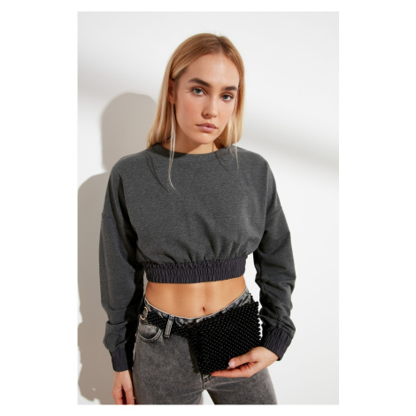 Trendyol Anthracite Crop Weaving Detailed Knitted Sweatshirt