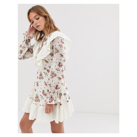 ASOS DESIGN broderie ruffle skater mini dress in ditsy floral print-Multi