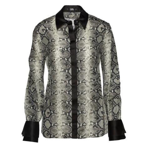 Halenka Karl Lagerfeld Snake Print Silk Blouse - Černá