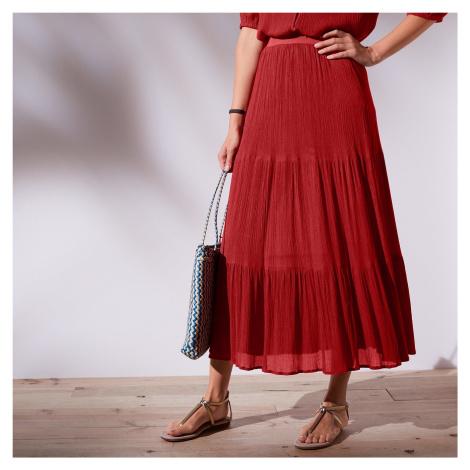 Blancheporte Dlouhá jednobarevná sukně tomatová