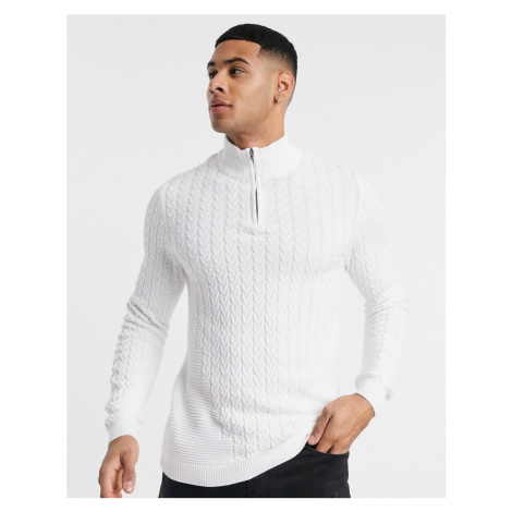 ASOS DESIGN muscle fit lightweight cable half zip jumper in white
