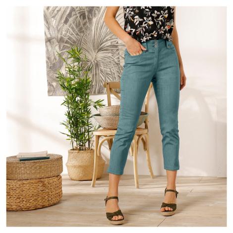 Blancheporte 3/4 kalhoty s vysokým pasem šedozelená