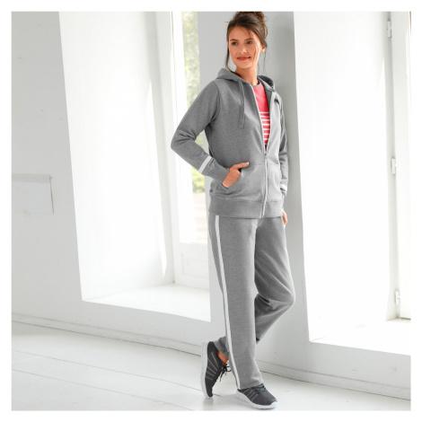 Blancheporte Sportovní dvoubarevné kalhoty šedý melír/bílá