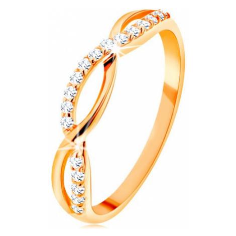 Prsten ze žlutého 14K zlata - propletené vlnky - hladká a zirkonová Šperky eshop