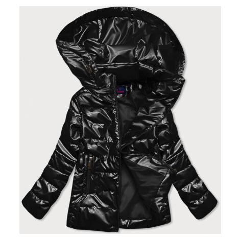 Černá lesklá prošívaná dámská bunda (2021-04)