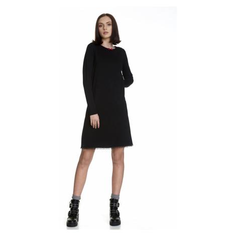 Jednoduché černé šaty s dlouhým rukávem Vive Maria Maria's Vintage