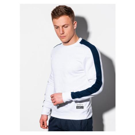 Ombre Clothing Nádherná bílá mikina bez kapuce B1081