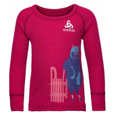 Odlo SUW KIDS TOP L/S CREW NECK ACTIVE WARM TREND SMALL červená - Dětské tričko