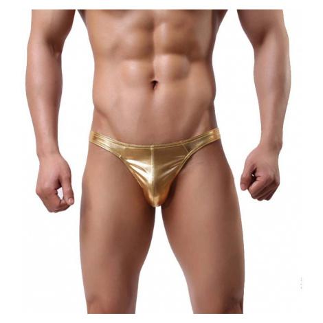 BRAVE PERSON pánská lesklá zlatá tanga Golden Thong Woguan