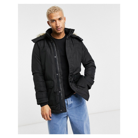 Tommy Jeans technical quilted parka in black with faux fur trim Tommy Hilfiger