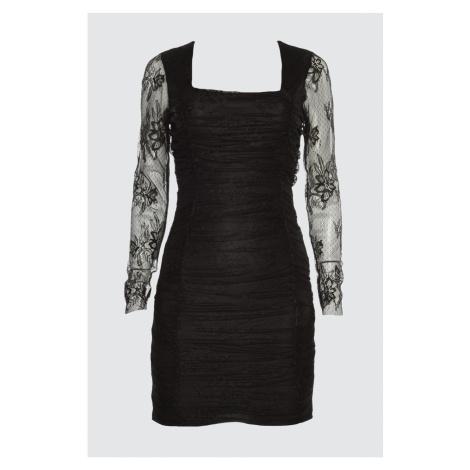 Trendyol Black Draped Lace Dress