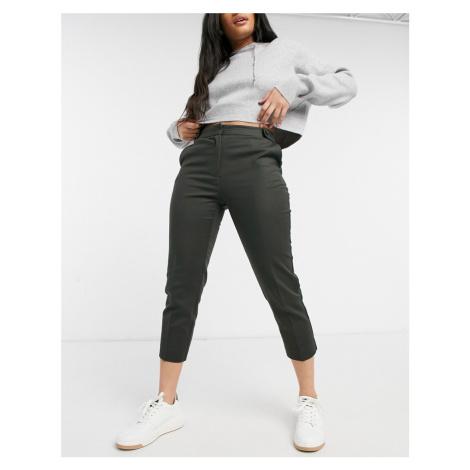 Oasis compact cotton capri trousers in khaki-Green