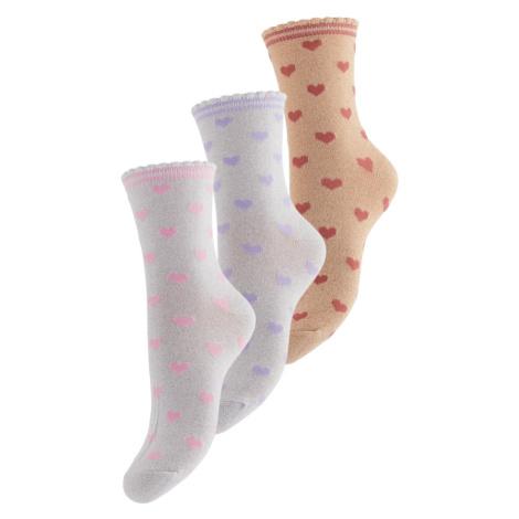 PIECES Ponožky 'Abby' světle šedá / světle hnědá / rezavě hnědá / fialová / světle růžová