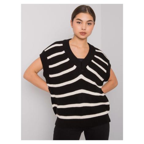 Černo-bílá dámská pletená vesta s pruhy FE-KZ-3305.54P-black BASIC
