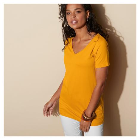"""Blancheporte Jednobarevné tričko s výstřihem do """"V"""" šafránová"""
