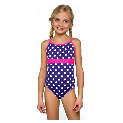 Plavky dívčí jednodílné Jolana bílé puntíčky Lorin