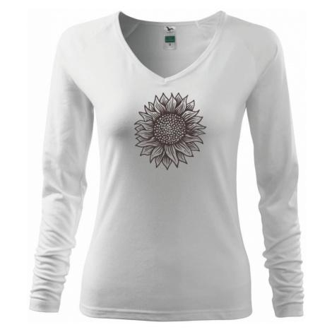 Slunečnice kreslená černobílá - Triko dámské Elegance