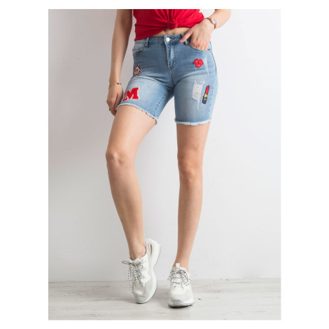 Denim shorts with colorful blue patches Fashionhunters
