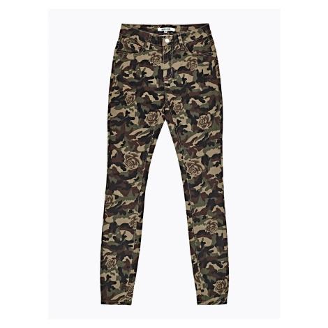 GATE Kalhoty skinny s maskáčovým a květinovým potiskem