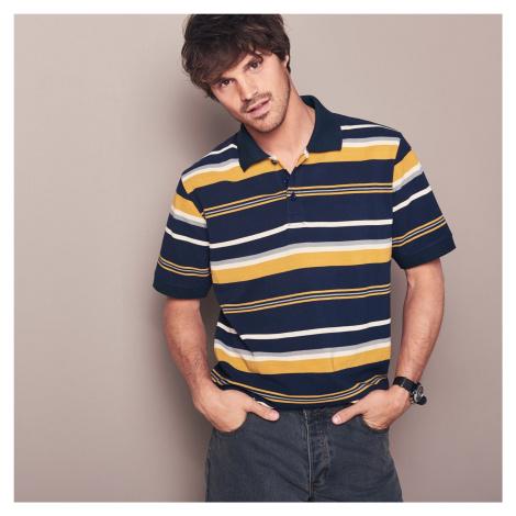 Blancheporte Proužkované polo tričko s krátkými rukávy nám.modrá/medová
