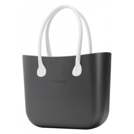 O bag kabelka Grafite s bílými dlouhými koženkovými držadly