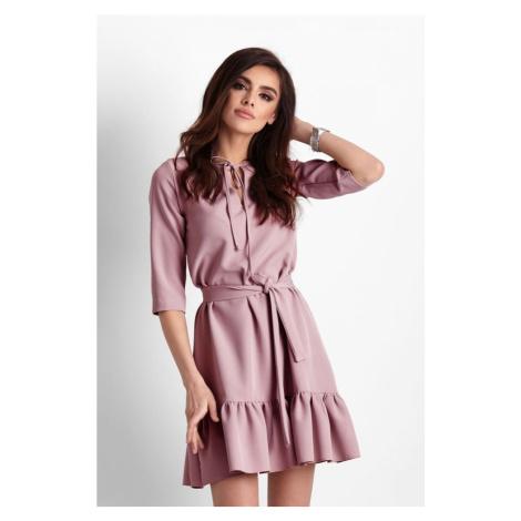 Dámské jednoduché šaty s volánkem a zavazováním v růžové barvě 260 IVON