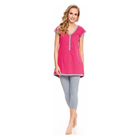 DN Nightwear Kojicí pyžamo Penelope hvězdičky červené